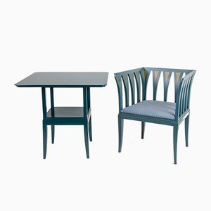 Blue Suite Table and Cranbrook Chair by Eliel Saarinen for Adelta, 1980s