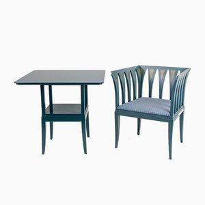 Blue Suite Tisch und Cranbrook Stuhl von Eliel Saarinen für Adelta, 1980er