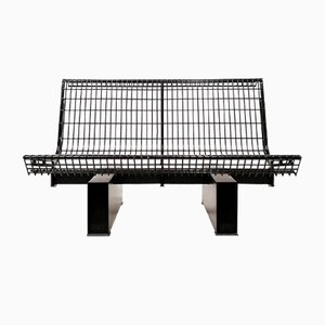 Black Lacquered Steel Bench by Osvaldo Borsani for Tecno, 1982