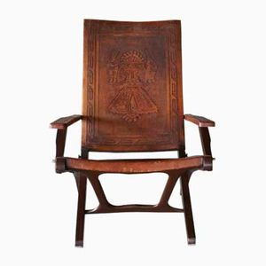 Klappstuhl aus Leder & Holz von Angel Pazmino für Muebles de Estilo, 1960er
