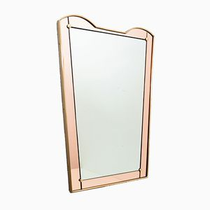Italian Brass and Pink Glass Wall Mirror, 1959