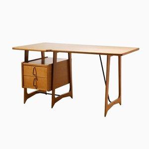 Französischer Schreibtisch aus Eichenholz, 1950er
