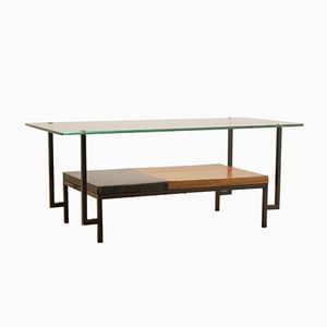 Mid-Century French Glass & Teak Coffee Table by Georges Frydman for EFA