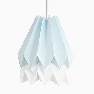 PLUS Mint Blue Origami Lamp with Polar White Stripe by Orikomi