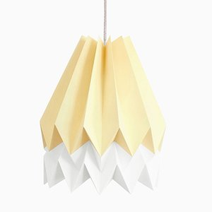 PLUS Pale Yellow Origami Lamp with Polar White Stripe by Orikomi