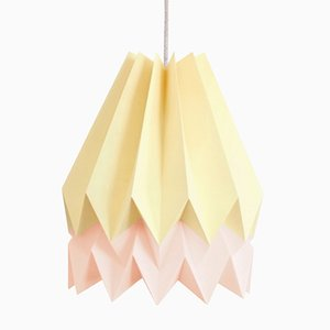 PLUS Pale Yellow Origami Lamp with Pastel Pink Stripe by Orikomi