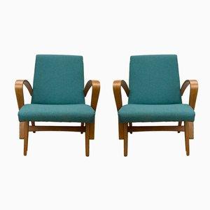Tschechische Sessel in Türkis, 1960er, 2er Set