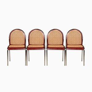 Italienische Messing & Schilfrohr Stühle, 1970er, 4er Set