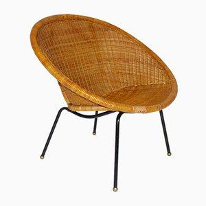 Silla italiana moderna Mid-Century de ratán tejido, años 50