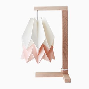 Polar White Table Lamp with Pastel Pink Stripe by Orikomi