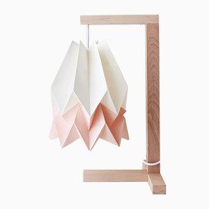 Table de Bureau Blanc Polaire avec une Bande Rose Pastel par Orikomi