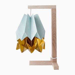 Tischlampe in Mint Blue mit Streifen in Warm Gold von Orikomi