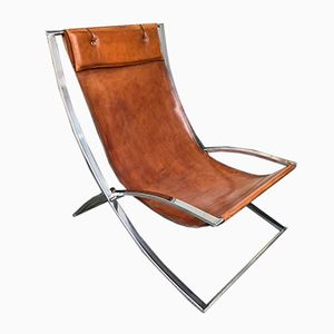 Italian Luisa Leather Lounge Chair by Marcello Cuneo for Mobel Italia, 1970s