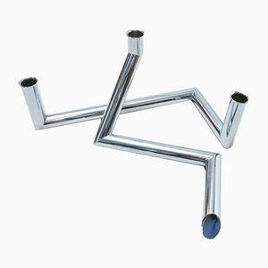 Candeleros asimétricos de metal y cromo, años 70. Juego de 2