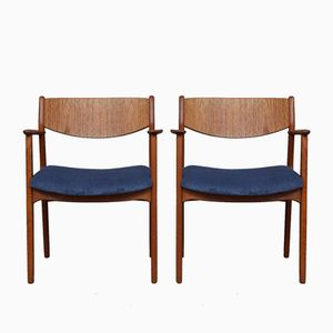 Vintage Danish Teak Armchairs with Corduroy Seats, 1960s, Set of 2