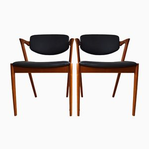 Model 42 Teak Dining Chairs by Kai Kristiansen for Schou Andersen, 1960s, Set of 2