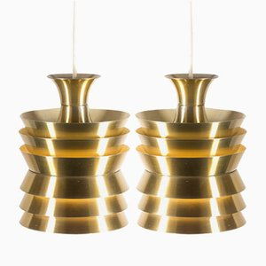 Brass-Colored Pendants by Carl Thore for Granhaga, 1960s, Set of 2
