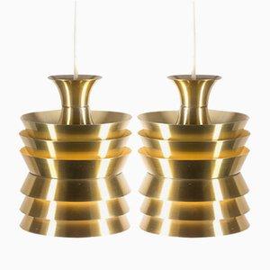 Lampes à Suspension en Laiton Coloré par Carl Thore pour Granhaga, 1960s, Set de 2