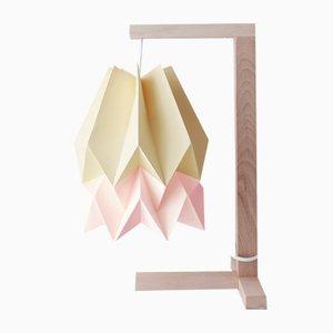 Lampe de Bureau Jaune Pâle avec Bande Rose Pastel par Orikomi