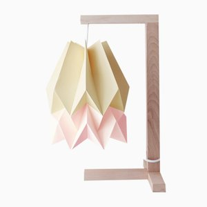 Pale Yellow Table Lamp with Pastel Pink Stripe by Orikomi