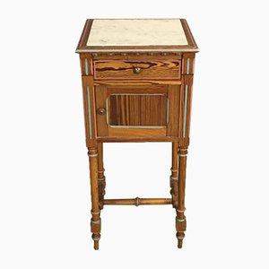 Antiker Nachttisch aus Kiefer und Marmor
