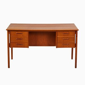 Danish Teak Desk with Lockable Cabinet, 1960s