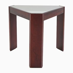 Vintage Wooden Side Table with Smoked Glass Top, 1970s