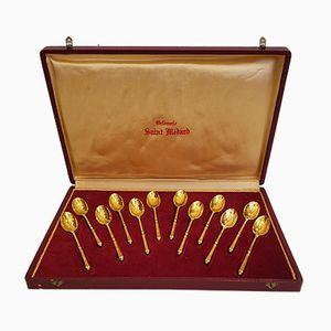 Vintage Golden Demitasse Spoons from Saint Medard, Set of 12