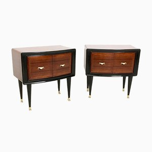 Rosewood and Ebonized Wooden Nightstands, 1950s, Set of 2