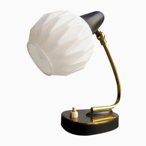 Lampe de Bureau Vintage avec Abat-jour en Verre Opalin Ajustable, 1950s