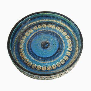 Italienische Vintage Keramik Rimini Blue Schale von Aldo Londi für Bitossi
