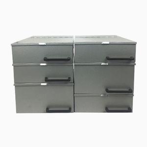Vintage Metal Boxes, Set of 6, 1970s