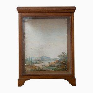 Antike Eichenholz Vitrine mit handgemalten Aquarell