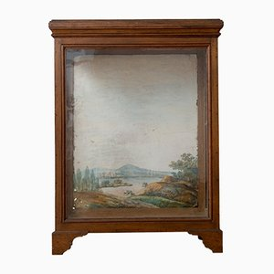 Antique Oak Display Case with Hand Painted Watercolor