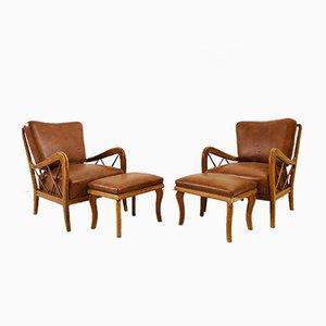 Italienische Vintage Sessel mit Ottomanen von Paolo Buffa, 1950er, 2er Set