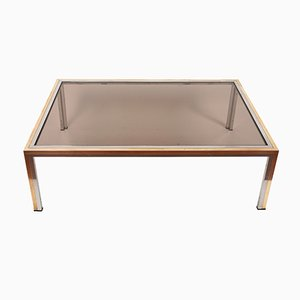 Attractive Coffee Table In Smoked Glass And Chrome By Romeo Rega, 1970s