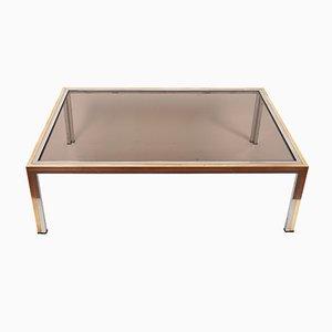 Table Basse en Verre Fumé et Chrome par Romeo Rega, 1970s
