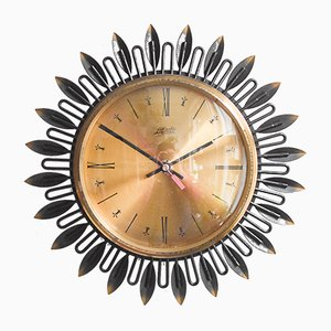 Mid-Century Large Sunburst Wall Clock from Atlanta
