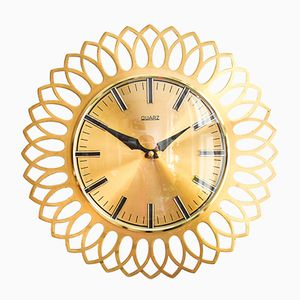 Large Mid-Century Sunburst Kitchen Wall Clock