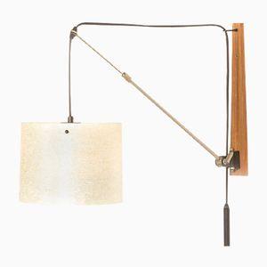 Vintage Adjustable Counterbalance Wall Lamp with Fiberglass Shade