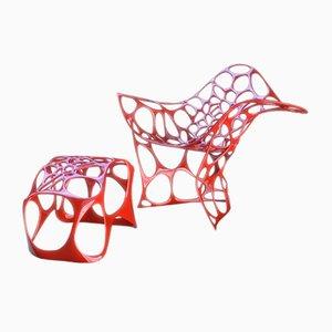 Poltrona e poggiapiedi Beotidea in alluminio pressofuso di Peter Donders
