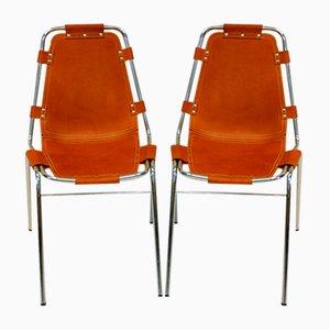 Leder Stühle von Charlotte Perriand für Carrier, 1972, 2er Set