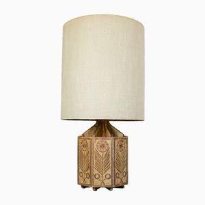 Lampe en Céramique Octogonale avec Ornements de Tournesol par Roger Capron pour Vallauris, 1960s