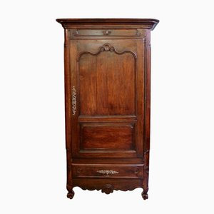 French Narrow Walnut Armoire, 1800s