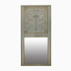 Bemalter Französischer Trumeau Spiegel, 1840er