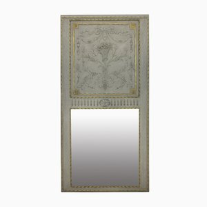 French Painted Trumeau Mirror, 1840s