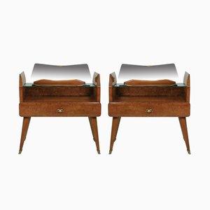 Tables de Chevet en Broussin et Noyer, 1950s, Set de 2
