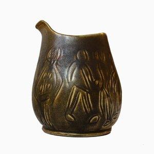 Modernist Green Glazed Stoneware Vase by HNB, 1960s
