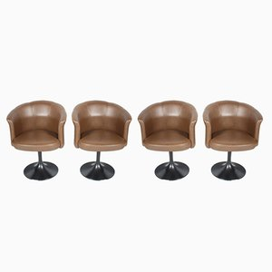 Vintage Leather Swivel Chairs from Cassina, Set of 4