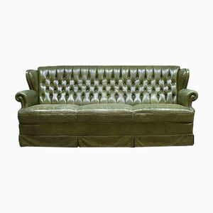 Vintage Botanic Green Leather Chesterfield Sofa